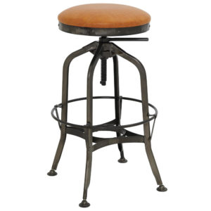 Industrial PU Adjustable Stool with Gunmetal Legs (Vintage Cedar) by New Pacific Direct