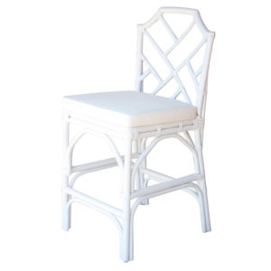 Kara Rattan Counter Stool (White) by New Pacific Direct