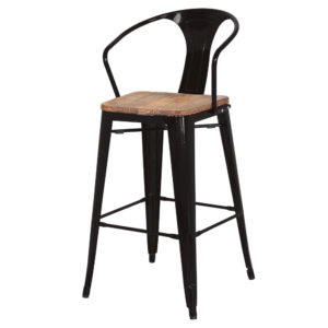 Metro Metal Counter Stool with Wood Seat by New Pacific Direct