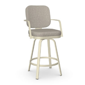 Dorsey 13 Swivel Stool (without memory return) Upholstered Seat and Backrest with Metal Armrests by Amisco