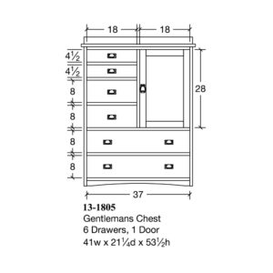 Bungalow Gentlemans Chest, 6 drawers 1 door by Amish Crafted by Noah Bontrager