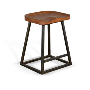 Rustic Oak Backless Barstool by Sunny Designs – Your Choice 24″ Counter or 30″ Bar