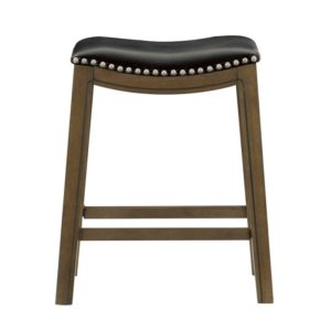 Roxy Saddle Seat Barstool by Homelegance (Black) – Your Choice 18″ Dining or 24″ Counter