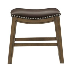 Roxy Saddle Seat Barstool by Homelegance (Brown) – Your Choice 18″ Dining or 24″ Counter