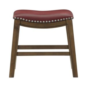 Roxy Saddle Seat Barstool by Homelegance (Red) – Your Choice 18″ Dining or 24″ Counter